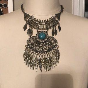 Gold and turquoise fringe boho statement necklace